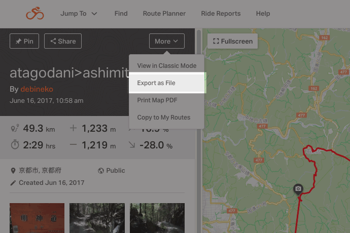 Exporting files from route in Ride with GPS.