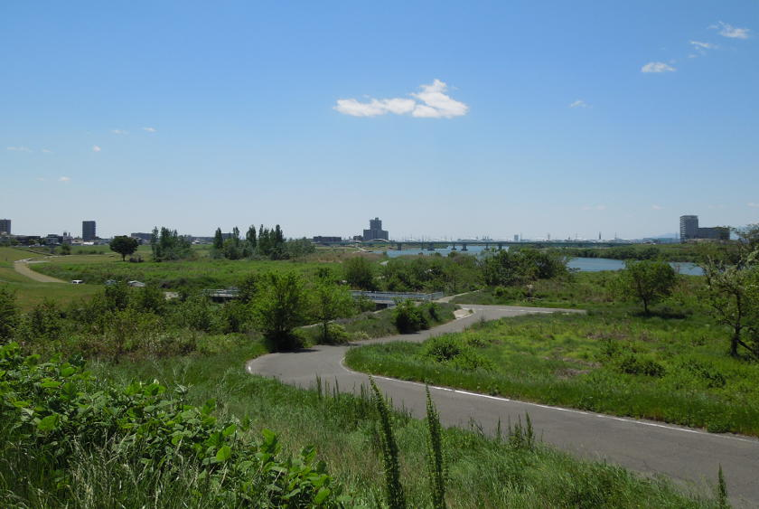 The cycling path on the Yodo river at Hirakata on the Osaka to Kyoto cycling route.