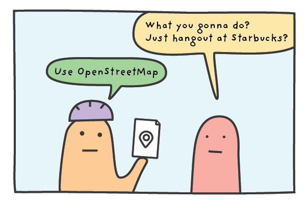 A cyclist telling a friend he will use OpenStreetMap on his Garmin while in Japan.