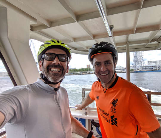 Ian from Globalwheels and a happy customer on the Osaka Harbour tour.