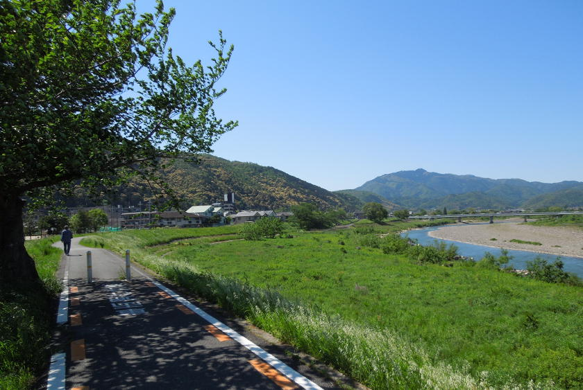 The amazing cycling path near Matsuo taisha temple on the Katsura river on the Osaka to Kyoto cycling route.