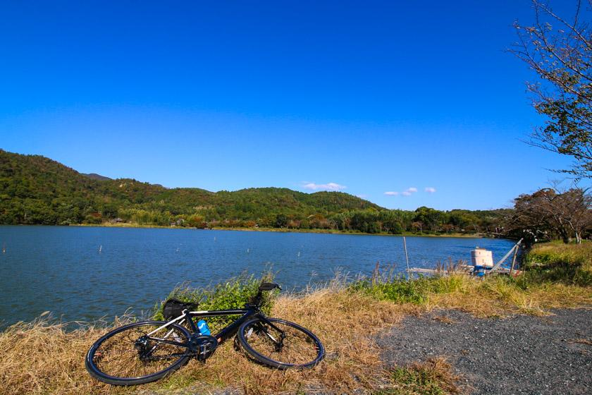 The lovely Hirosawa Pond on route 29 on our Kyoto Cycling route.