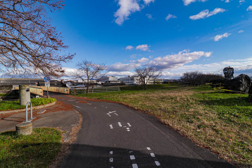 A photo of the bridge over to the Tenjin river on the cycling route.
