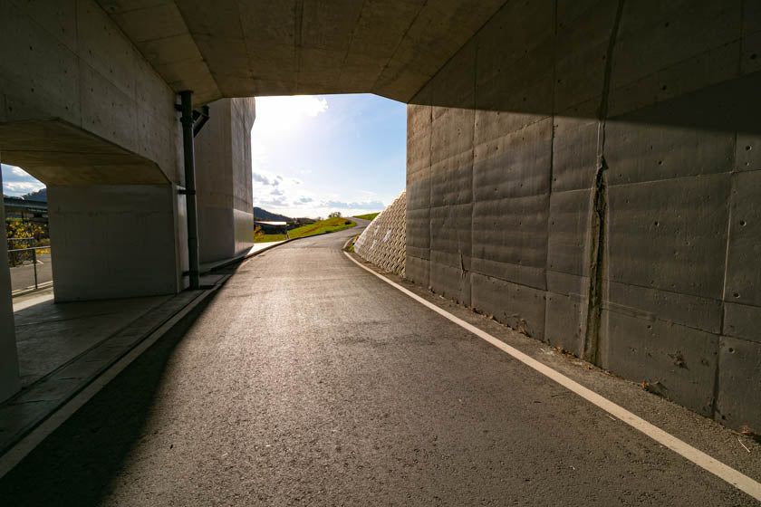 A photo showing the tunnel to take us to the three river bridge crossing.