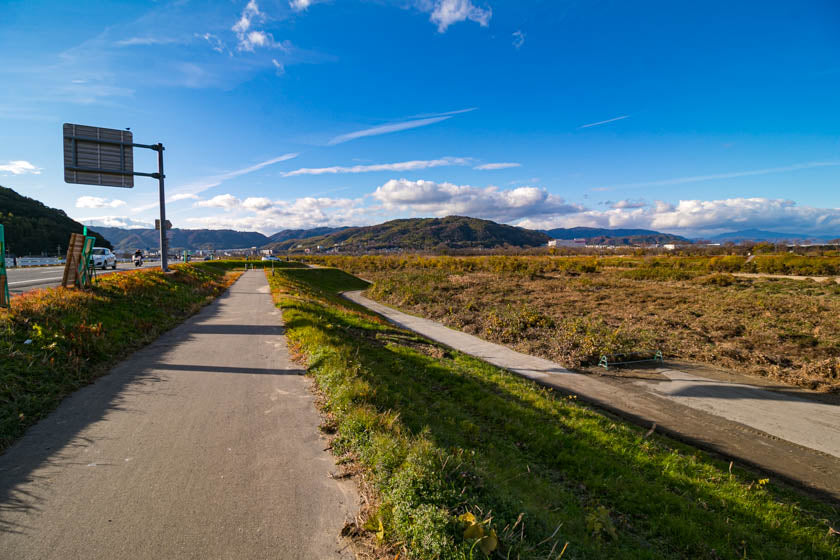 Looking south over the start of the Yodogawa cycling route on our way to Osaka.