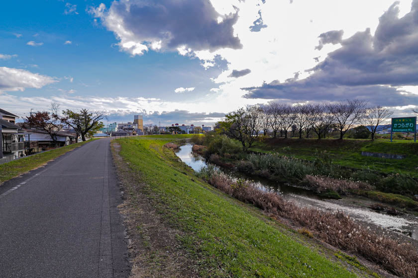 Stunning scenery on the cycling path from Kyoto to Osaka.