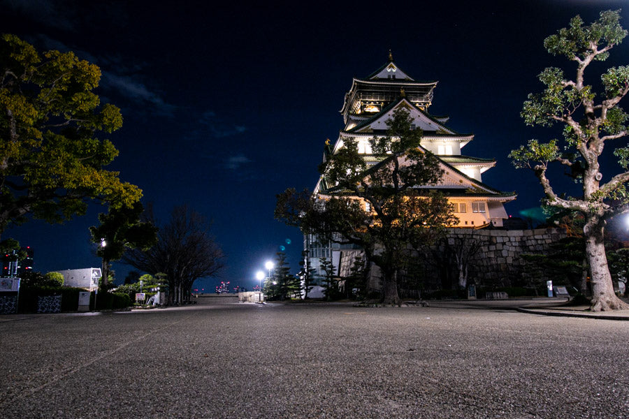 Osaka castle seen from close at night while riding bikes.