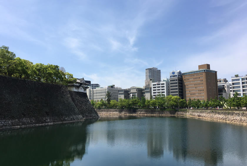 Passing Osaka castle on the alternative start to the Osaka harbour cycling route.