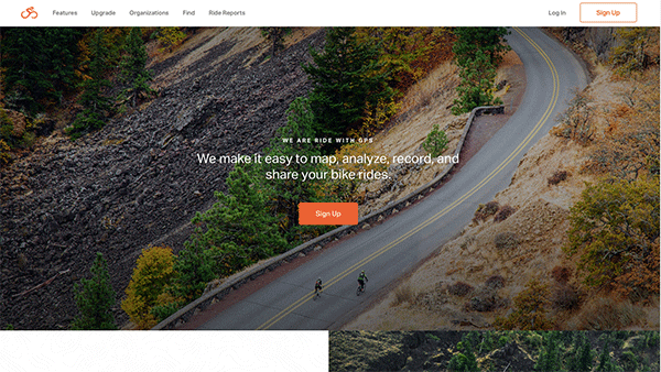 Ride with GPS homepage.