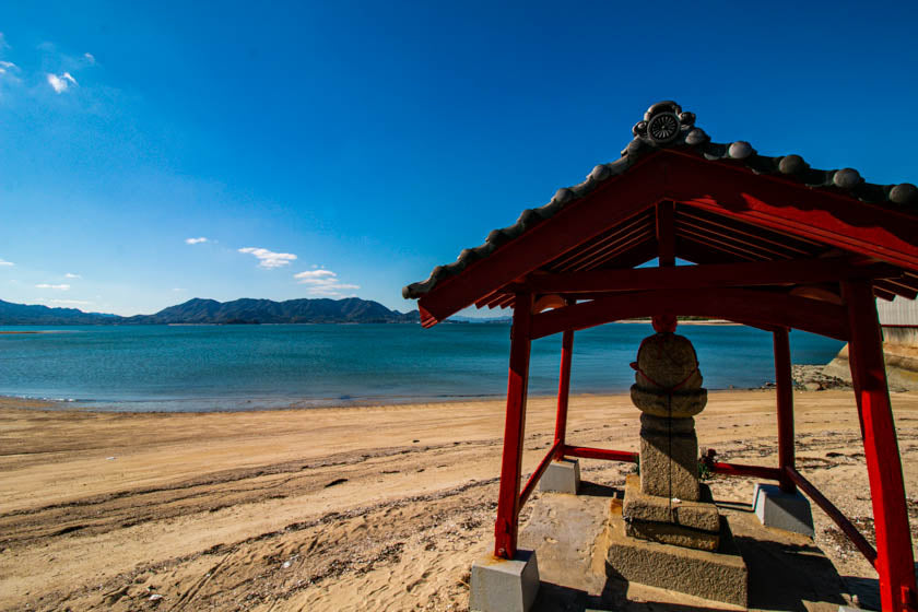 Lovely shrine on the beach along the shimanami kaido cycling route.