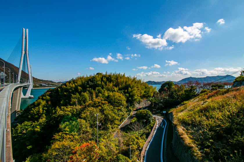 Beautiful views and cycling paths along the Shimanami kaido cycling route in Japan.