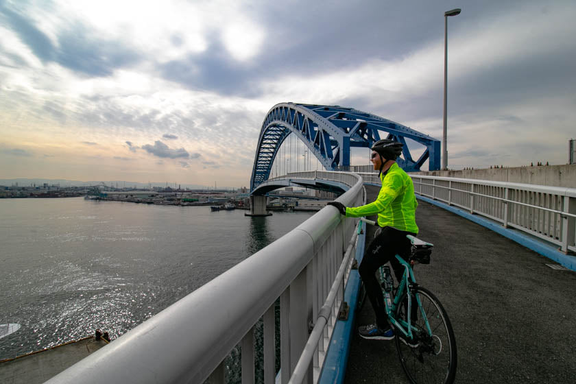 One of the amazing bridge crossings on the Osaka harbour cycling route.