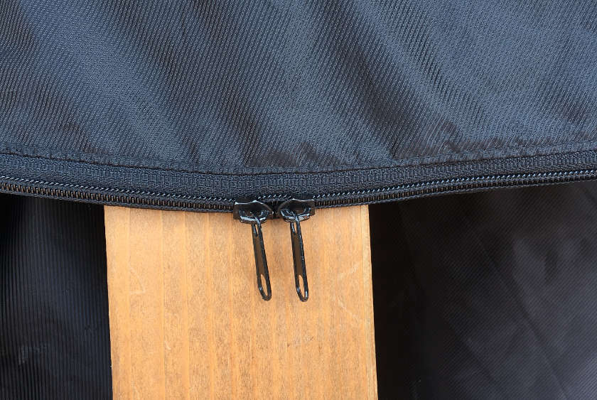 The two zippers on the bag.