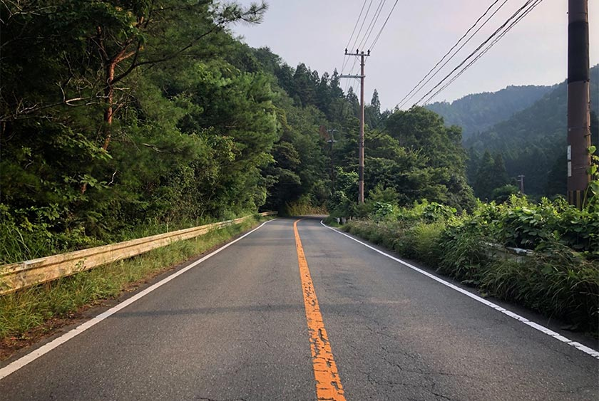 The lovely stretch of road in the Kyoto hills to the north.