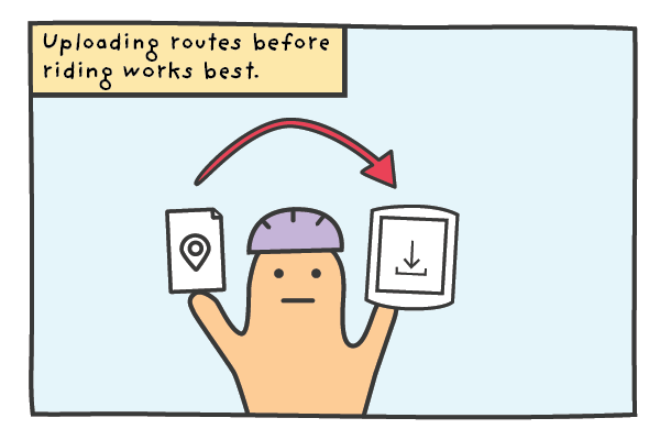 A cyclist showing it is better to upload your routes to the Garmin before riding.