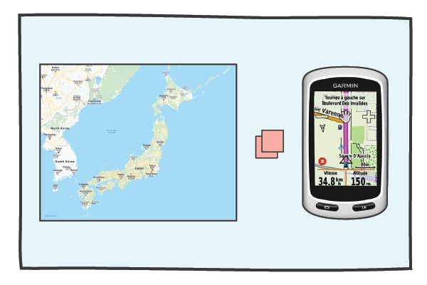 The map of Japan is put into a Garmin Edge Touring GPS device.