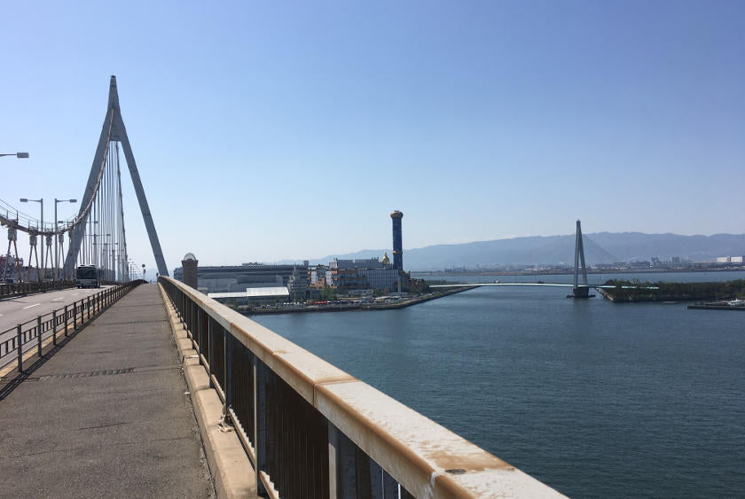 Cycling the Osaka harbour route.