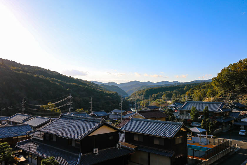 Looking over Ishiyamasotohatacho, a beautiful town on our Kyoto, Uji and Otsu cycling route.