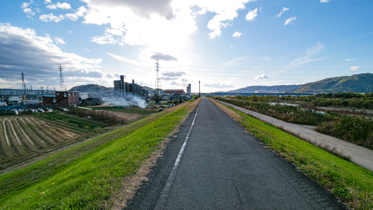 Stunning scenery near the end of the Katsura river cycling route.