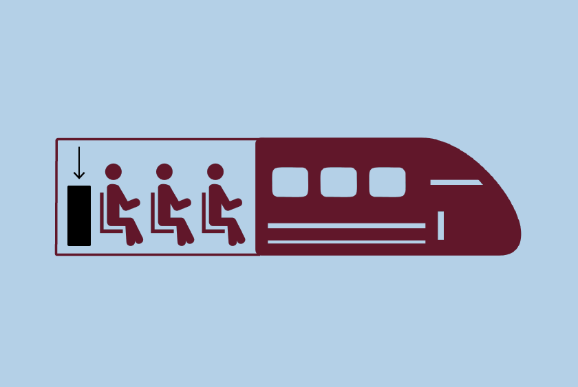 Illustration showing where the luggage space is on the shinkansen.