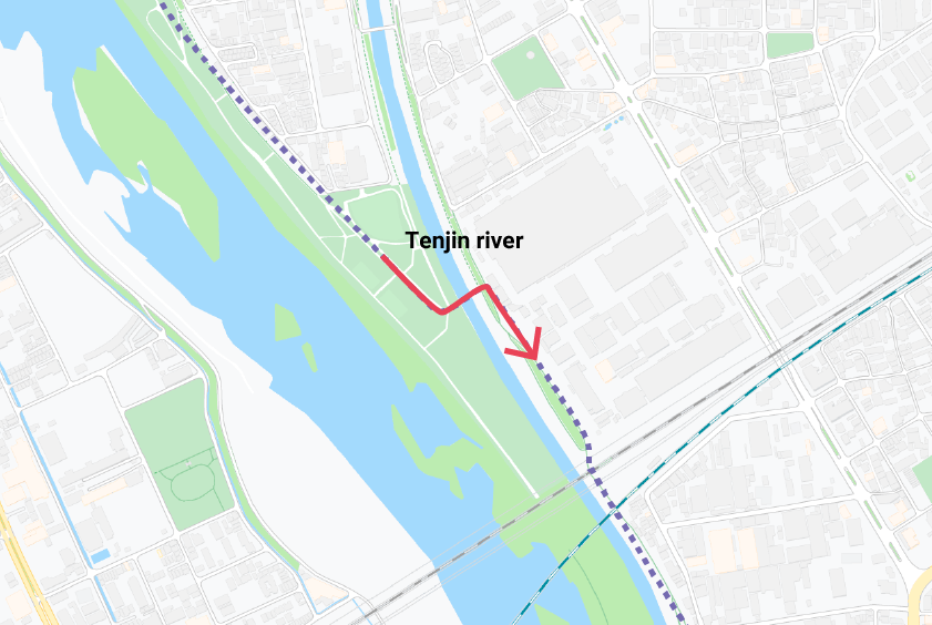 An illustration showing where the small bridge to the Tenjin river is.