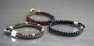 Dual Bracelet by Hetariki Jewellery, leather and semi precious stones with silver clasp for men