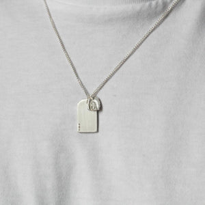 SILVER GIFT TAG WITH CROSS NECKLACE - BRUSHED FINISH Gift Tag Hetariki Jewellery