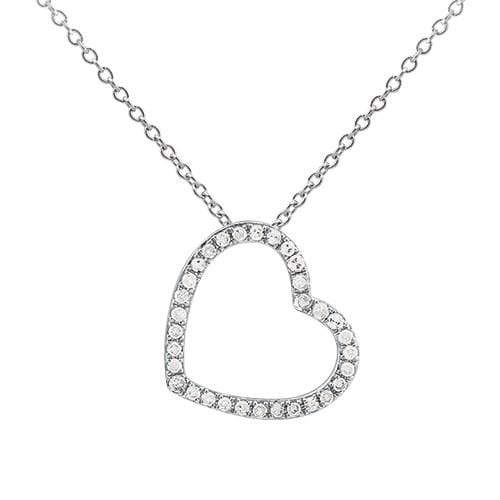 0.10ct Diamond Heart Pendant on Chain in 9ct White Gold Heart Pendants