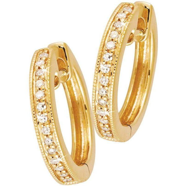 0.12ct Diamond Millgrain Huggies in 9ct Yellow Gold Huggies