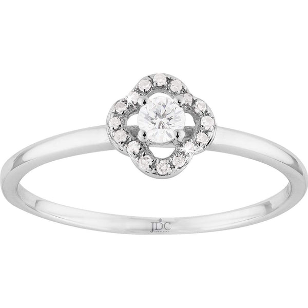 0.15ct Halo Diamond Ring in 9ct White Gold Halo Rings