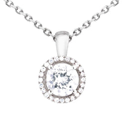 0.25ct Diamond Halo Pendant with Chain in 9ct White Gold Halo Pendants
