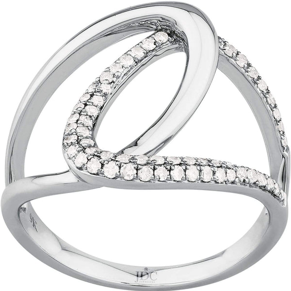 0.26ct Diamond Dress Ring in 9ct White Gold Pave Rings