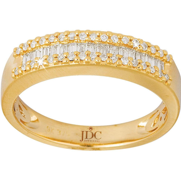 0.27ct Diamond Dress Ring in 9ct Yellow Gold Claw and Channel Set Rings