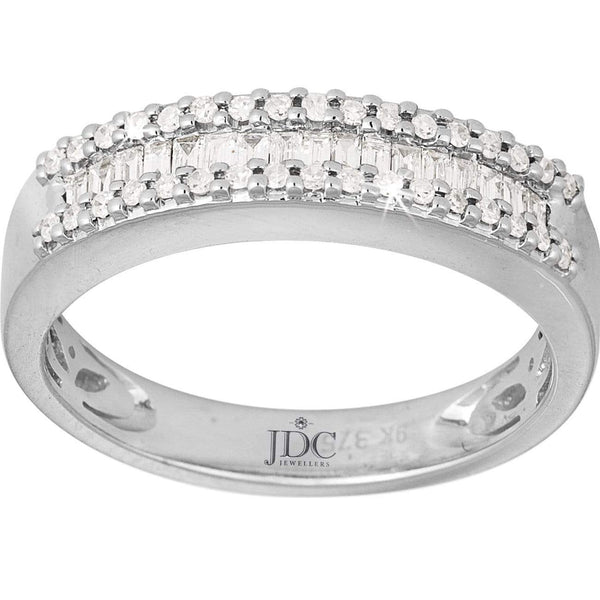 0.27ct Diamond Eternity Ring in 9ct White Gold Claw and Channel Set Rings