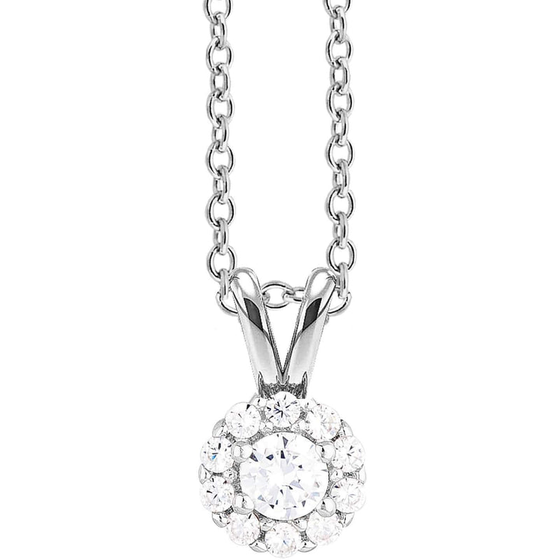 0.30ct Halo Diamond Pendant in 18ct White Gold Halo Pendants