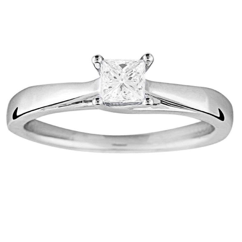0.30ct Princess Diamond Solitaire Engagement Ring in 18ct White Gold Perfect Pair Solitaire Rings