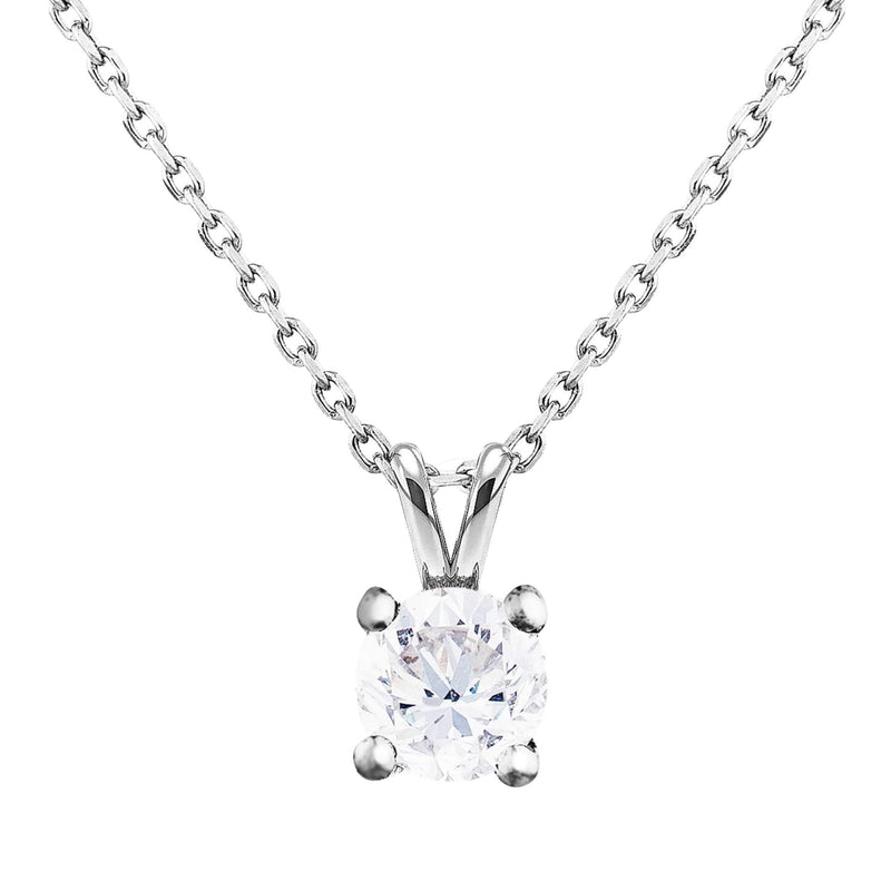 0.50ct Perfect Pair Diamond Solitaire Pendant in 18ct White Gold