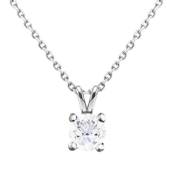 0.40ct Perfect Pair Diamond Solitaire Pendant in 18ct White Gold