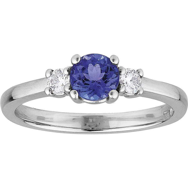 0.54ct Tanzanite & 0.14ct Diamond Trilogy Ring in 9ct White Gold Trilogy Rings