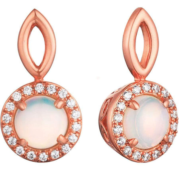 0.55ct Opal Halo Earrings in 9ct Rose Gold Halo Stud Earrings