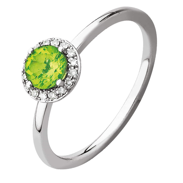 0.60ct Peridot & Diamond Earrings in 9ct White Gold Halo Stud Earrings