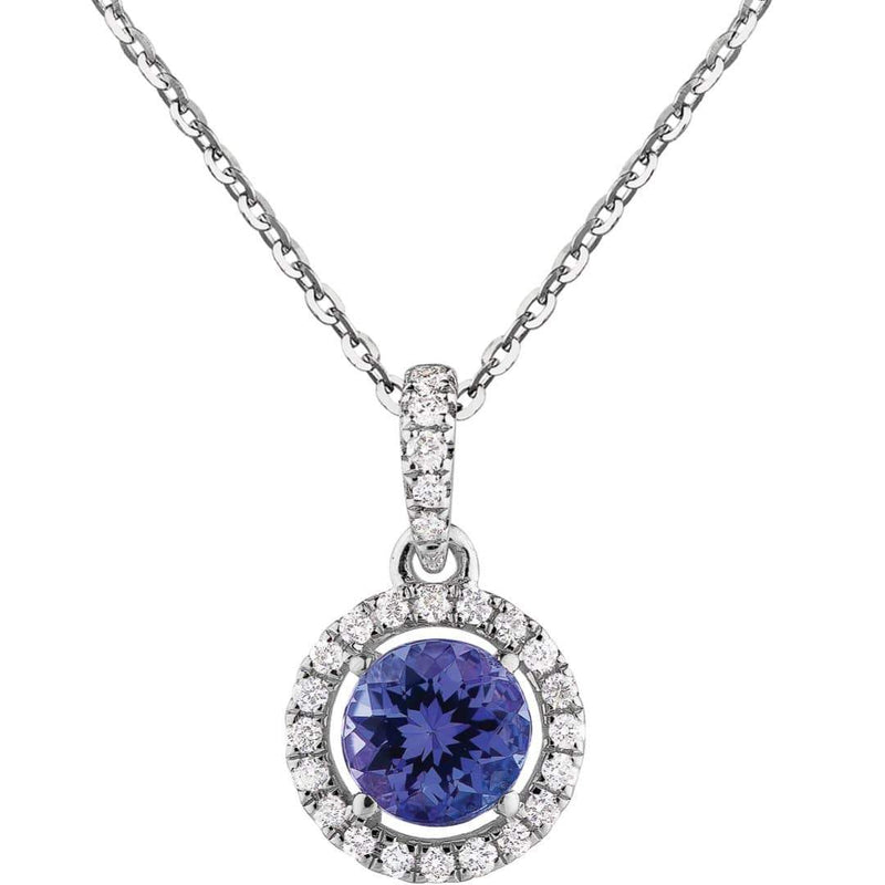 0.60ct Tanzanite & Diamond Halo Pendant on chain in 14ct White gold Halo Pendants