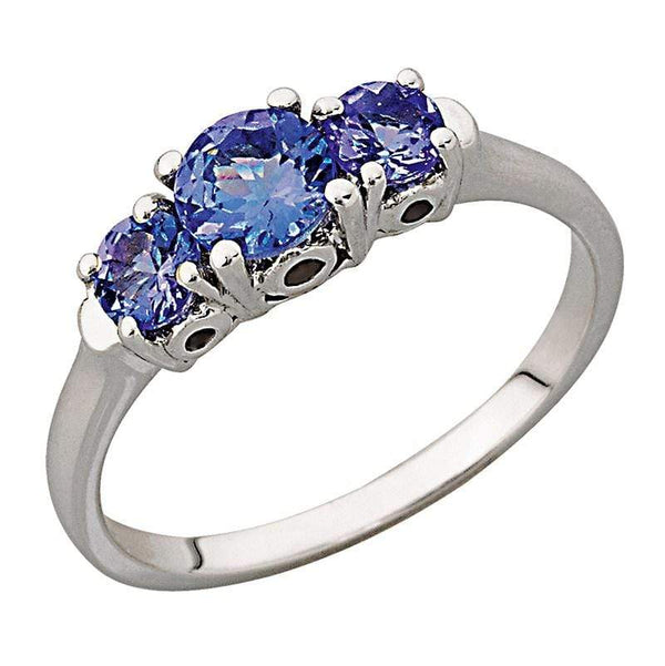0.80ct Tanzanite Trilogy Ring in 9ct White Gold
