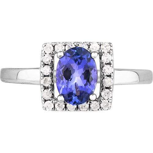 0.90ct Tanzanite & Diamond Ring in 9ct White Gold