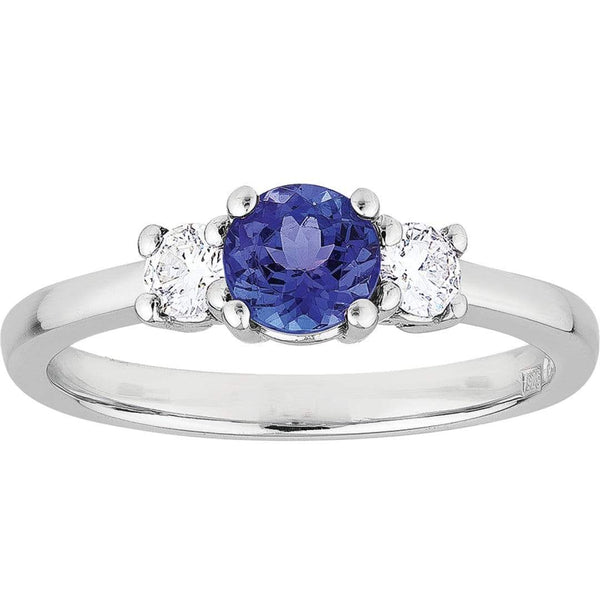 1.10ct Tanzanite & Diamond Trilogy Ring in 18ct White Gold Trilogy Rings