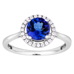 1.10ct Tanzanite Halo Ring in 9ct White Gold Halo Rings