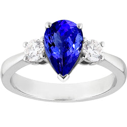 1.24ct Pear Shaped Tanzanite Trilogy Ring in 18ct White Gold
