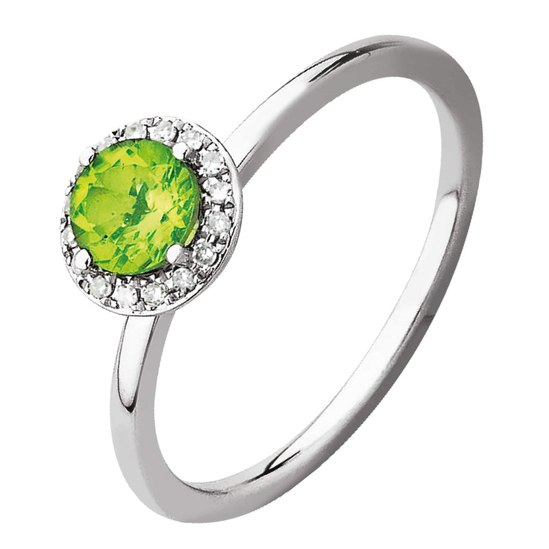 1.45ct Peridot & Diamond Earrings in 9ct White Gold Halo Stud Earrings