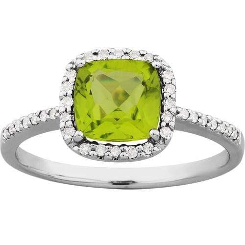 1.58ct Peridot & Diamond Ring in 9ct White Gold Halo Rings