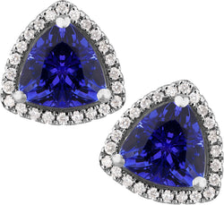 2.00ct Tanzanite & 0.21ct Diamond Trillion Studs in 14ct White Gold